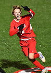 Kirkwood forward Owen Hardy runs towards the Kirkwood student section after he scored the third and winning goal for his team. Kirkwood beat CBC 3-2 in a Class 4 sectional soccer game at Kirkwood High School in Kirkwood on Thursday November 14, 2019.<br /> Tim Vizer/Special to STLhighschoolsports.com