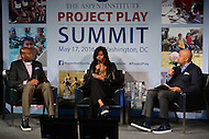 Washington, DC - May 17, 2016: First lady Michelle Obama and her brother Craig Robinson participate in a discussion about youth athletics during the Apsen Institute's 2016 Project Play Summit at the Newseum in the District of Columbia, May 17, 2016. The discussion was moderated by ESPN's Michael Wilbon.  (Photo by Don Baxter/Media Images International)