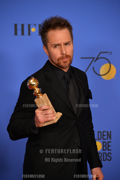 Sam Rockwell at the 75th Annual Golden Globe Awards at the Beverly Hilton Hotel, Beverly Hills, USA 07 Jan. 2018<br /> Picture: Paul Smith/Featureflash/SilverHub 0208 004 5359 sales@silverhubmedia.com