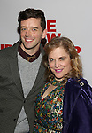 Michael Urie and Claudia Shear attend the opening night party for the New Group Production of Wallace Shawn's  'Evening at the Talk House' at Green Fig Urban Eatery on 2/16/2017 in New York City.