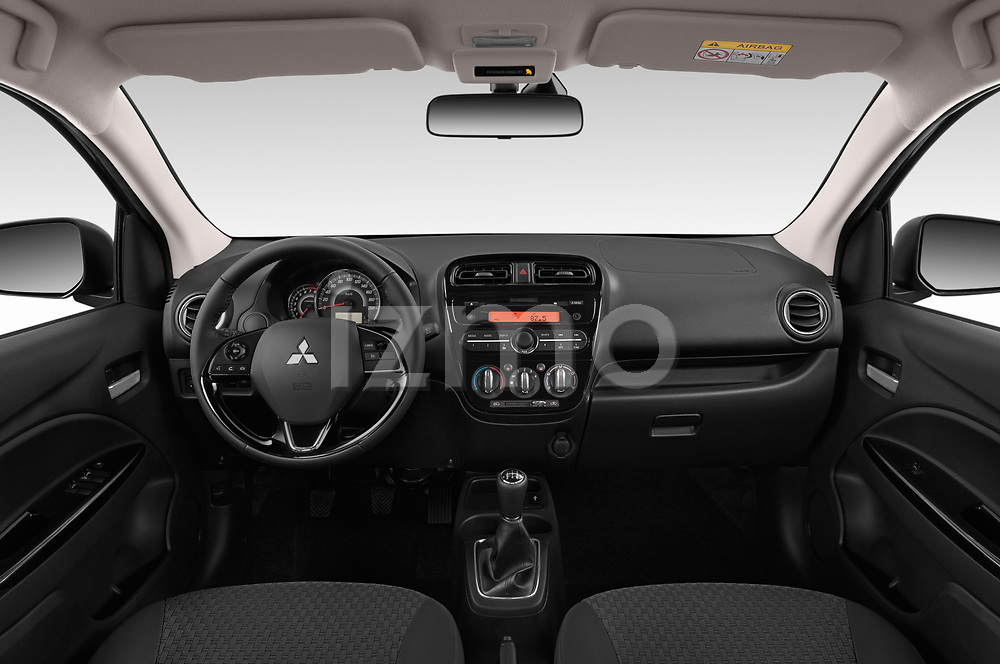 Stock photo of straight dashboard view of 2019 Mitsubishi Spacestar Intense 5 Door Hatchback Dashboard
