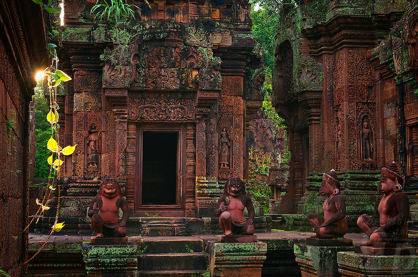 Banteay Srei during the wet season glowing in the last light of the afternoon.The temple of Banteay Srei or the Citadel of the Women.<br />