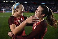 San Diego, CA - Sunday January 21, 2018: Julie Ertz, Kelley O'Hara prior to an international friendly between the women's national teams of the United States (USA) and Denmark (DEN) at SDCCU Stadium.
