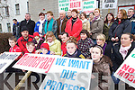 Kilcummin residents protesting at Kerry County Council over a mobile phone mast being erected in the area