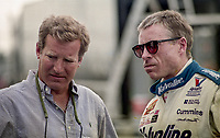 DAYTONA BEACH, FL - JUL 2, 1994:  Sports car legend Hurley Haywood, L, talks with Mark Martin before the Pepsi 400 NASCAR Winston Cup race at Daytona International Speedway, Daytona Beach, FL. (Photo by Brian Cleary/www.bcpix.com)