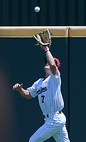 NWA Democrat-Gazette/CHARLIE KAIJO South Carolina outfielder Jacob Olson (7) makes a catch during the second game of the NCAA super regional baseball, Sunday, June 10, 2018 at Baum Stadium in Fayetteville. Arkansas fell to South Carolina 5-8.