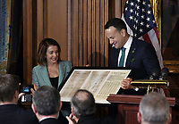 Leo Varadkar, Ireland's prime minister presents a copy of letter signed by 300 congressmen in 1937 to congratulate Ireland on its new constitution to Speaker of the United States House of Representatives Nancy Pelosi (Democrat of California) during during the Friends of Ireland luncheon at the U.S. Capitol in Washington, D.C., U.S., on Thursday, March 14, 2019. <br /> Credit: Olivier Douliery / Pool via CNP/AdMedia