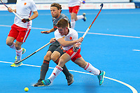 Henry Weir of England shoots for goal inside the Netherlands D during the Hockey World League Semi-Final match between England and Netherlands at the Olympic Park, London, England on 24 June 2017. Photo by Steve McCarthy.