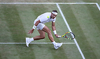 Rafael Nadal (ESP) during his match against Roger Federer (SUI) in their Gentleman's Singles Semi-Final match<br /> <br /> Photographer Rob Newell/CameraSport<br /> <br /> Wimbledon Lawn Tennis Championships - Day 11 - Friday 12th July 2019 -  All England Lawn Tennis and Croquet Club - Wimbledon - London - England<br /> <br /> World Copyright © 2019 CameraSport. All rights reserved. 43 Linden Ave. Countesthorpe. Leicester. England. LE8 5PG - Tel: +44 (0) 116 277 4147 - admin@camerasport.com - www.camerasport.com