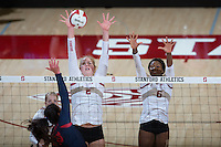 STANFORD, CA - October 14, 2016: Kathryn Plummer,Tami Alade at Maples Pavilion. The Arizona Wildcats defeated the Cardinal 3-1.