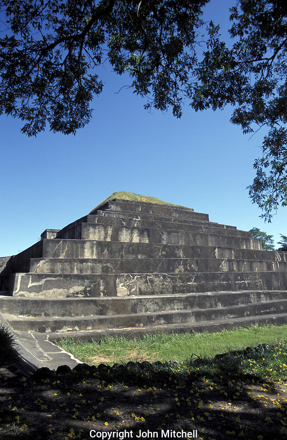 Main pyramid at the Mayan ruins of El Tazumal in El Salvador, Central America. This is the largest and best restored archaeological  site in El Salvador.