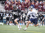 Washington, DC - April 7, 2018: Georgetown Hoyas Daniel Bucaro (4) tries to run pass Providence Friars James Barclay (45) during game between Providence and Georgetown at  Cooper Field in Washington, DC.   (Photo by Elliott Brown/Media Images International)