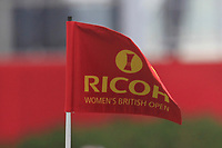 Ricoh flag on the 1st green during Round 3 of the Ricoh Women's British Open at Royal Lytham &amp; St. Annes on Saturday 4th August 2018.<br /> Picture:  Thos Caffrey / Golffile<br /> <br /> All photo usage must carry mandatory copyright credit (&copy; Golffile | Thos Caffrey)