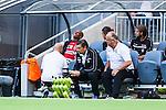 Stockholm 2014-06-08 Fotboll Superettan Hammarby IF - Landskrona BoIS  :  <br /> Landskronas Amethyst Bradley Ralani har har bytts ut i den f&ouml;rsta halvleken och grimaserar p&aring; avbytarb&auml;nken<br /> (Foto: Kenta J&ouml;nsson) Nyckelord:  Superettan Tele2 Arena Hammarby HIF Bajen Landskrona BoIS skada skadan ont sm&auml;rta injury pain