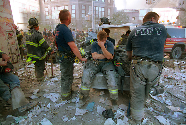 Attack on the World Trade Center, firemen near Ground Zero, Battery Park City, New York City, New York, USA, September 11, 2001