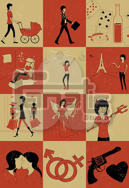 Montage illustration showing different women role and relationships