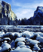 El Capitan, Merced River, Winter, fresh snow, Yosemite Valley, Yosemite, California