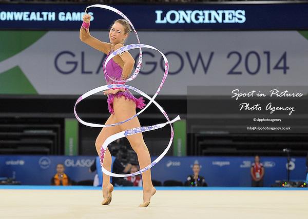 Francesca Jones (WAL) wins the gold medal in the ribbon final. Rythmic Gymnastics. PHOTO: Mandatory by-line: Garry Bowden/SIPPA/Pinnacle - Tel: +44(0)1363 881025 - Mobile:0797 1270 681 - VAT Reg No: 183700120 - 260714 - Glasgow 2014 Commonwealth Games - Hydro Centre, Glasgow, Scotland, UK