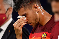 Lorenzo Pellegrini of AS Roma injured, has a nosebleed during the Serie A football match between AS Roma and ACF Fiorentina at stadio Olimpico in Roma (Italy), July 26th, 2020. Play resumes behind closed doors following the outbreak of the coronavirus disease. <br /> Photo Antonietta Baldassarre / Insidefoto
