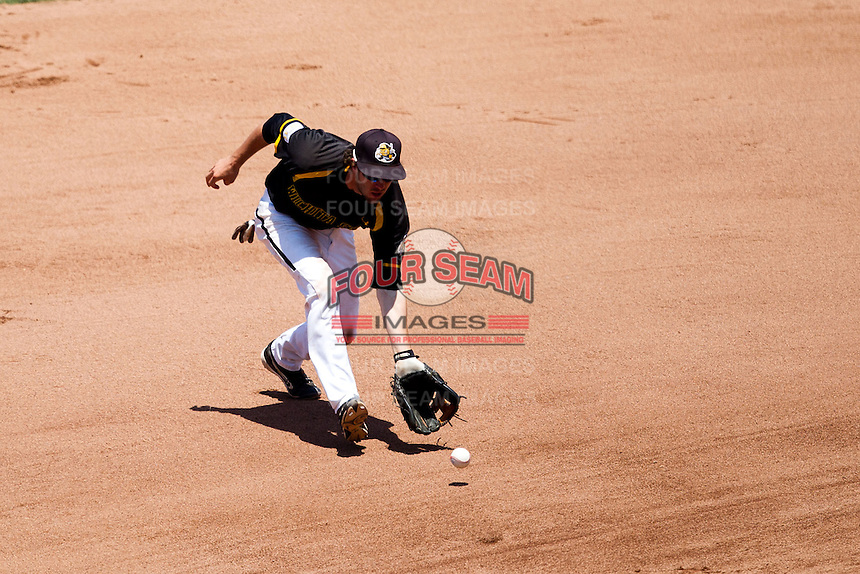 Erik Harbutz (38) of the Wichita State Shockers fields a ground ball hit to the left side during a game against the Missouri State Bears in the 2012 Missouri Valley Conference Championship Tournament at Hammons Field on May 23, 2012 in Springfield, Missouri. (David Welker/Four Seam Images)