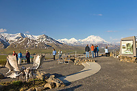 Visitors enjoy a clear view of Mount Denali, North America's highest peak, viewed from Eielson Visitor Center, Denali National Park, Alaska