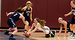 NAUGATUCK,  CT-011820JS05- Naugatuck's Brielle Behuniak (3) dives for a loose ball in front of Shepaug's Eilish Crossley (3) and Lucy Puskas (21) during their non-league game Saturday at Naugatuck High School. <br /> Jim Shannon Republican-American