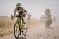 Reinardt Janse van Rensburg (ZAF/Dimension Data) emerging from the dust on pav&eacute; sector #6<br /> <br /> Stage 9: Arras Citadelle &gt; Roubaix (154km)<br /> <br /> 105th Tour de France 2018<br /> &copy;kramon