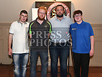 Finalists Mark Clinton and Jamie Heavey and semi-finalists Derek Thornton and Cian Barry in the Jillian Thornton Memorial darts tournament held in the Thatch. Photo:Colin Bell/pressphotos.ie