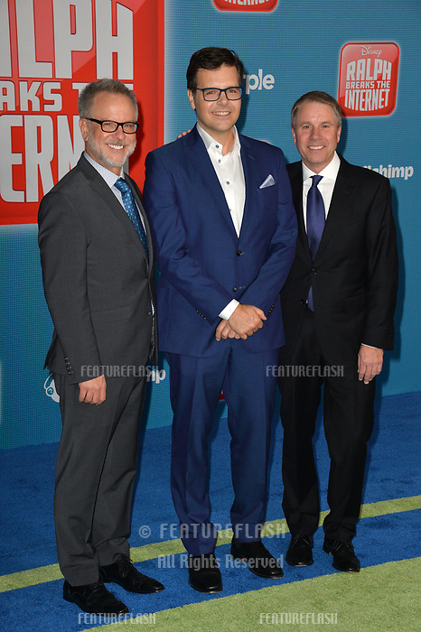 LOS ANGELES, CA. November 05, 2018: Rich Moore, Phil Johnston &amp; Clark Spencer at the world premiere of &quot;Ralph Breaks The Internet&quot; at the El Capitan Theatre.<br /> Picture: Paul Smith/Featureflash