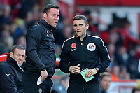 Notts County manager Kevin Nolan argues with the fourth official during Stevenage vs Notts County, Sky Bet EFL League 2 Football at the Lamex Stadium on 11th November 2017