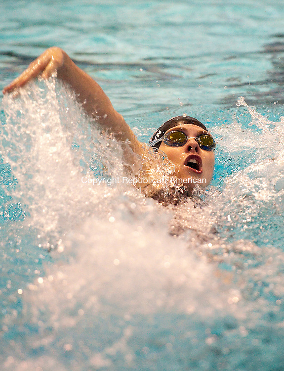 MIDDLETOWN,  CT-111616JS14-Sacred Heart's Erin Brown competes in the 100 Yard Backstroke during the Class S Swimming championships Wednesday at Wesleyan University in Middletown. <br /> Jim Shannon Republican American