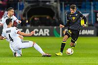 27th February 2020; St Jakob Park, Basel, Switzerland; UEFA Europa League Football, FC Basel versus APOEL Nicosia; Eray Cömert of FC Basel goes past Nicholas Ioannou of APOEL Nicosia on the ball