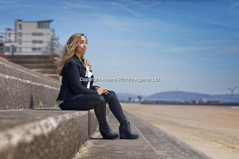 Portrait of lifestyle strategist Preeti Ravangave in Swansea Bay, Wales, UK. Tuesday 14 May 2019