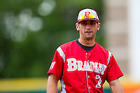 Rob Elliott (7) of the Bradley Braves during a game against the Missouri State Bears on May 13, 2011 at Hammons Field in Springfield, Missouri.  Photo By David Welker/Four Seam Images