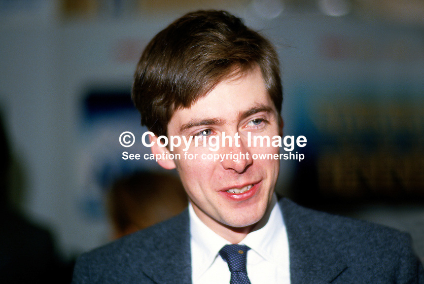 Nick St Aubyn, Conservative Party, prospective parliamentary candidate, Truro, in 1987 General Election. Nick St Aubyn, is a son of Baron St Levan. 19871042NSA1..Copyright Image from Victor Patterson, 54 Dorchester Park, Belfast, UK, BT9 6RJ..Tel: +44 28 9066 1296.Mob: +44 7802 353836.Voicemail +44 20 8816 7153.Skype: victorpattersonbelfast.Email: victorpatterson@me.com.Email: victorpatterson@ireland.com (back-up)..IMPORTANT: If you wish to use this image or any other of my images please go to www.victorpatterson.com and click on the Terms & Conditions. Then contact me by email or phone with the reference number(s) of the image(s) concerned.