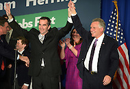 November 5, 2013  (Tysons Corner, Virginia)  Democrats Ralph Northam (l) and Terry McAuliffe celebrate their election victory November 5, 2013. McAuliffe won the Virginia governor's seat and Northam was elected lieutenant governor.  (Photo by Don Baxter/Media Images International)