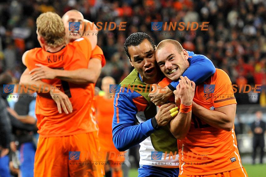 L'esultanza di Wesley Sneijder (Olanda) per la qualificazione alla finale<br /> Uruguay Olanda - Uruguay vs Netherlands<br /> Semifinale - Semifinal<br /> Campionati del Mondo di Calcio Sudafrica 2010 - World Cup South Africa 2010<br /> Green Point Stadium, Cape Town  06/07/2010<br /> &copy; Giorgio Perottino / Insidefoto