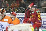 Duesseldorfs Marco Nowak (Nr.8) und Duesseldorfs Philip Gogulla (Nr.87)  freuen sich ueber das 1:1 beim Spiel in der DEL, Duesseldorfer EG (rot) - Grizzlys Wolfsburg (weiss).<br /> <br /> Foto © PIX-Sportfotos *** Foto ist honorarpflichtig! *** Auf Anfrage in hoeherer Qualitaet/Aufloesung. Belegexemplar erbeten. Veroeffentlichung ausschliesslich fuer journalistisch-publizistische Zwecke. For editorial use only.
