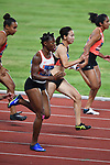 (L-R) Odiong Edidiong (BRN),  Chisato Fukushima (JPN), <br /> AUGUST 25, 2018 - Athletics : Women's 100m ROUND 1 at Gelora Bung Karno Main Stadium during the 2018 Jakarta Palembang Asian Games in Jakarta, Indonesia. <br /> (Photo by MATSUO.K/AFLO SPORT)