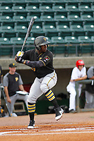 Bristol Pirates outfielder Yondry Contreras (23) at bat during a game against the Greeneville Reds<br />  at Pioneer Field on June 20, 2018 in Greeneville, Tennessee. Bristol defeated Greeneville 11-0. (Robert Gurganus/Four Seam Images)
