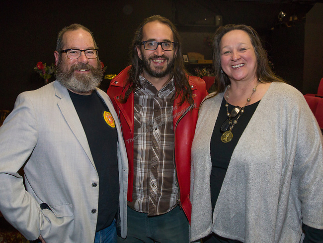Dave Aiazzi, Matt Schultz and Mischell Riley during the Take 5 fundraiser at the Bruka Theatre on Saturday night, Jan. 13, 2018.