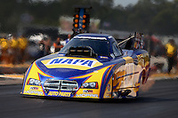 Aug. 18, 2013; Brainerd, MN, USA: NHRA funny car driver Ron Capps during the Lucas Oil Nationals at Brainerd International Raceway. Mandatory Credit: Mark J. Rebilas-