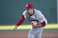 Starting pitcher Daniel Lloyd (15) of the South Carolina Gamecocks delivers a pitch in a game against the Furman Paladins on Tuesday, March 19, 2019, at Fluor Field at the West End in Greenville, South Carolina. South Carolina won, 12-7. (Tom Priddy/Four Seam Images)