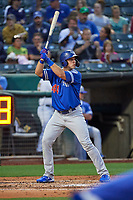 DJ Peters (44) of the Oklahoma City Dodgers at bat against the Salt Lake Bees at Smith's Ballpark on July 31, 2019 in Salt Lake City, Utah. The Dodgers defeated the Bees 5-3. (Stephen Smith/Four Seam Images)