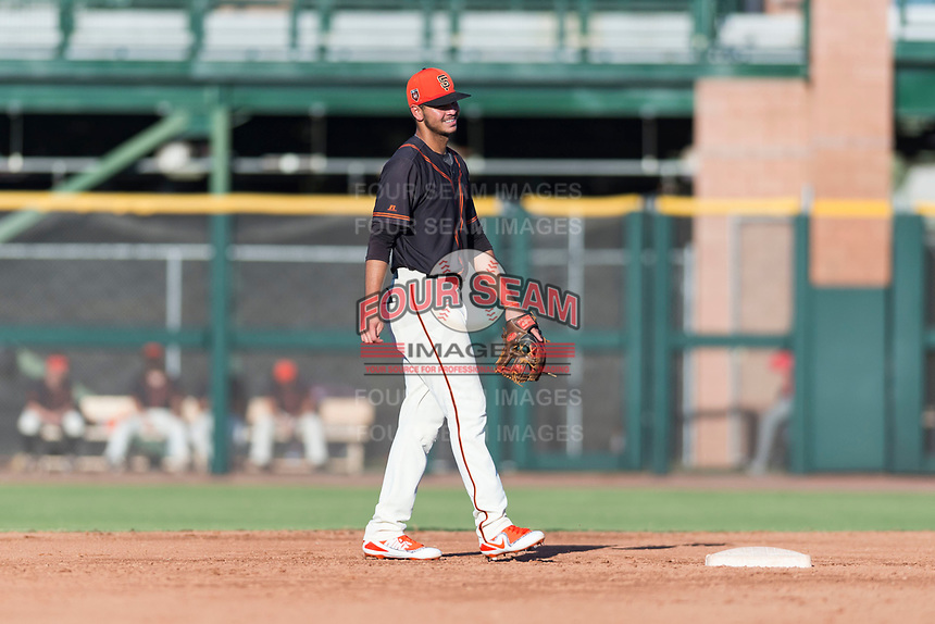 AZL Giants Orange shortstop Francisco Medina (19) during an Arizona League game against the AZL Rangers at Scottsdale Stadium on August 4, 2018 in Scottsdale, Arizona. The AZL Giants Black defeated the AZL Rangers by a score of 3-2 in the first game of a doubleheader. (Zachary Lucy/Four Seam Images)