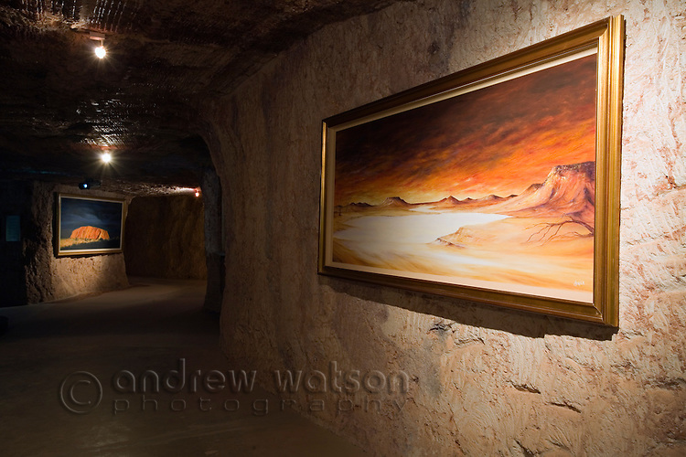 Outback artwork in the underground Umoona Opal Mine and Museum.  Coober Pedy, South Australia, AUSTRALIA.