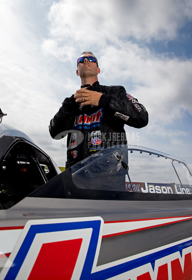 Sept. 1, 2013; Clermont, IN, USA: NHRA pro stock driver Jason Line during qualifying for the US Nationals at Lucas Oil Raceway. Mandatory Credit: Mark J. Rebilas-