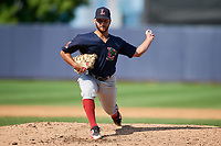 Lowell Spinners relief pitcher Tanner Raiburn (32) delivers a pitch during a game against the Staten Island Yankees on August 22, 2018 at Richmond County Bank Ballpark in Staten Island, New York.  Staten Island defeated Lowell 10-4.  (Mike Janes/Four Seam Images)