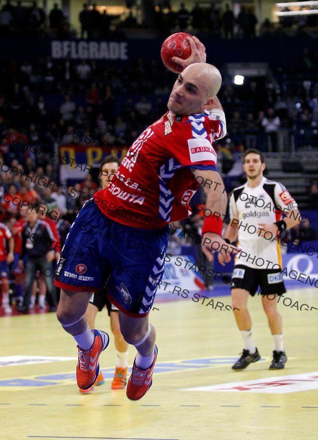 Ivan Nikcevic during main round, group 1 men`s EHF EURO 2012 championship handball game between Serbia and Germany in Belgrade, Serbia, Saturday, January 21, 2011.  (photo: Pedja Milosavljevic / thepedja@gmail.com / +381641260959)