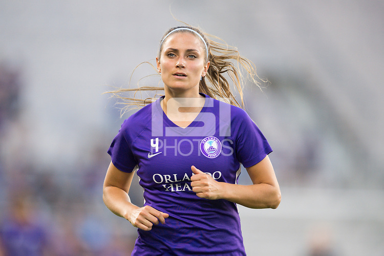 Orlando, FL - Saturday March 24, 2018: Orlando Pride defender Shelina Zadorsky (4) prior to a regular season National Women's Soccer League (NWSL) match between the Orlando Pride and the Utah Royals FC at Orlando City Stadium. The game ended in a 1-1 draw.